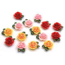 Assorted Color 24MM Resin Rose Flower Cabochon Flatback Rose Flower Cabs Flower Slime Beads Jewelry Making Findings