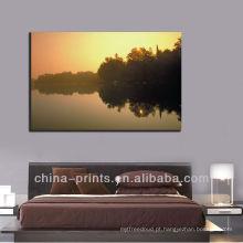 Nascer do sol moderno sobre a lona da lona do lago, quadro da pintura para a decoração home