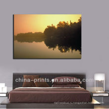 Современный восход солнца над озером Canvas ART, роспись рамы для домашнего декора