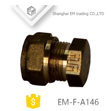 EM-F-A146 Brass male thread plug pipe fitting with hexagon nut