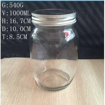 1000ml Glass Mason Jars Round Shape Without Handle