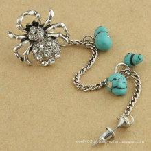 Tão bonito aranha cristal ouvido punho individual vintage alloy clipe de orelha com turquesa brinco jóias para mulher EC25