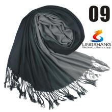 Lingshang alambre pura lana mujeres bufanda de color sólido bufanda llanura cabo de alta calidad lana bufanda