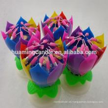 Precio de fábrica de la vela del cumpleaños de la música de la flor de loto