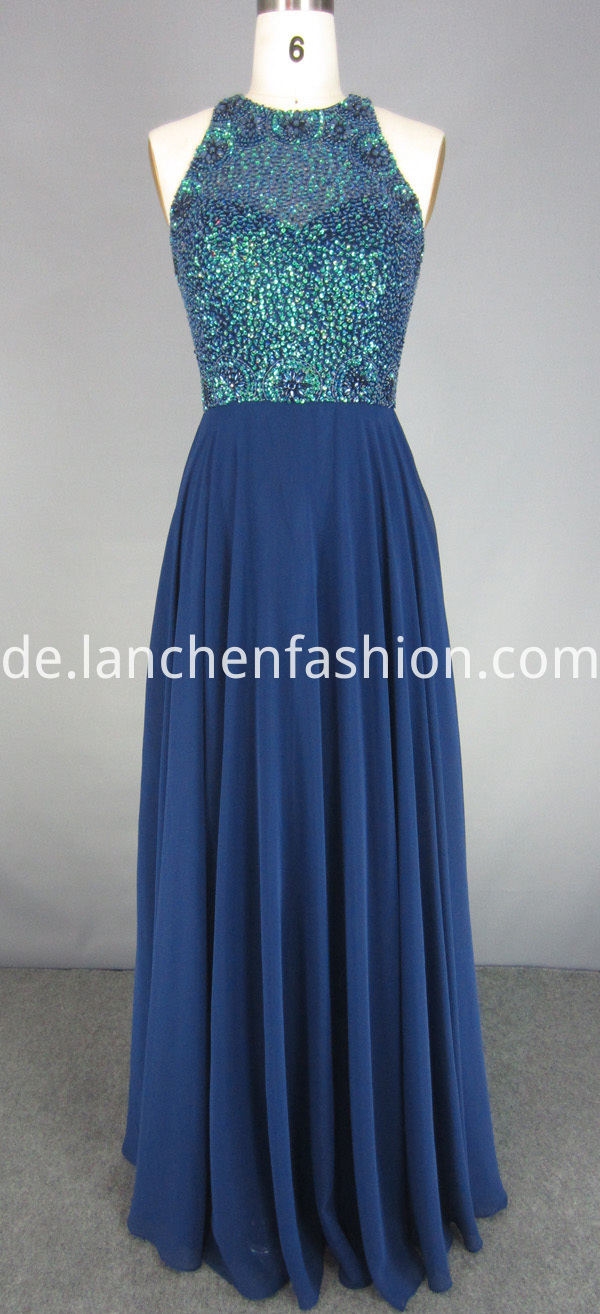 Royal Blue Beaded Maxi Dress