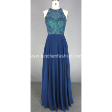 Royal Blue High Neck Beads Prom Dress