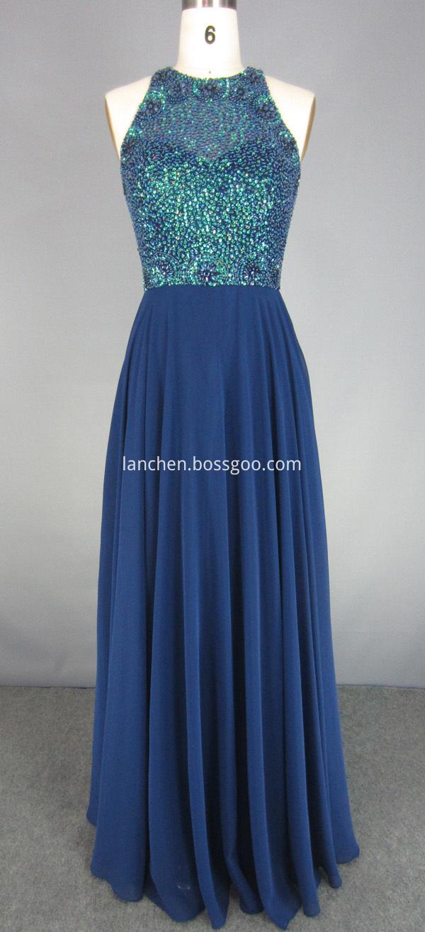 Royal Blue Beaded Maxi Dress