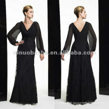 NY-1980 Chiffon/Embroidered net long sleeve sheath mother dress
