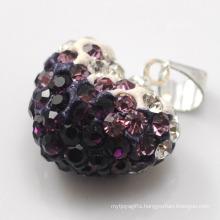 joya factory Shamballa Heart Pendant Wholesale Heart Shape New Arrival 15MM Multicolor Crystal Clay Pendant For DIY Jewelry