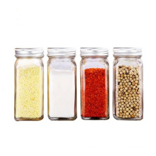 4oz 120ml French Square Shape Glass Spice Jars with Metal Lids&Shaker with Screw Lid, Glass Seasoning Bottle Jars, Glassware