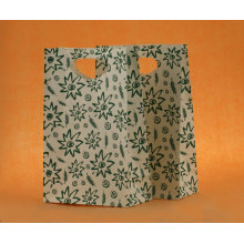 Handled white kraft paper bag