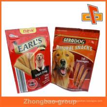 La alta calidad y la impresión de encargo se colocan encima de la cremallera bolsa del alimento de perro para las salchichas del perro o el bocado