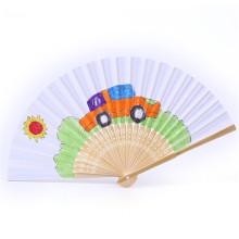 FQ marca verano regalo portátil personalizado impreso logotipo plegable bambú mano ventilador