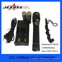 Underwater 150 mètres 3xCree LED rechargeable LED Diving allume la meilleure lampe de poche au monde