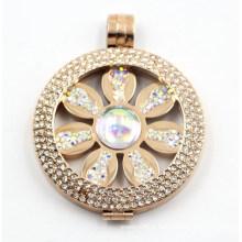 Pingente de medalhão de aço inoxidável de Design IP Rose com flor dentro de moeda