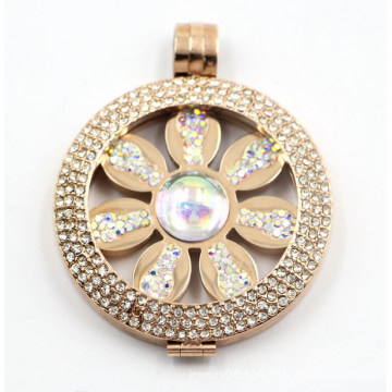 Latest Design IP Rose Stainless Steel Locket Pendant with Flower Coin Inside