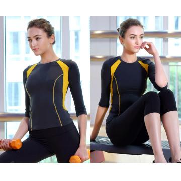 Woman Fitness Two-Tone 92% Nylon 8% Spandex Sportwear Yoga Shirt