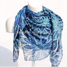 Forme la bufanda de voile de las señoras del cuadrado de la impresión floral