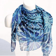 Fashion floral print square ladies voile scarf