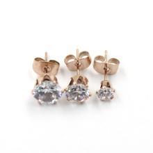 Модные розовые позолоченные серьги с бриллиантами