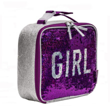 Lunch box Insulated Soft Bag Mini Cooler Bag Reversible Sequin Lunch Bag For School Kids