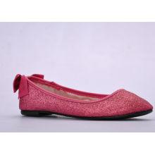 Red Glitter Pu Upper Comfortable Ladies / Womens Ballerina Flats