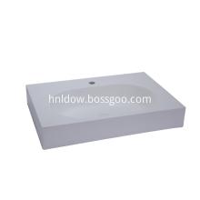 Simple Solid Surface Rectangular Countertop Wash Basin