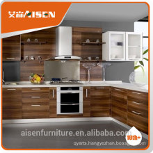 modern grain style melamine faced kitchen cabinet