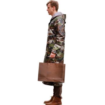 Chubasquero largo adulto con capucha estilo camuflaje poliéster