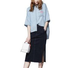 Spring Fashion Plain 3/4 Sleeve Camisa de mujer