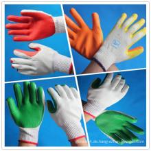 Gummi-beschichtete Baumwollhandschuhe / 10-gauge gebleichtes weißes Baumwoll-gestricktes Arbeitshandschuh mit Gummi-Handfläche beschichtet