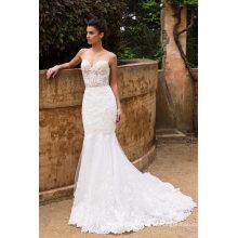 Venda quente marfim sereia laço vestido de noiva vestido de noiva