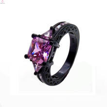 Latest Bulk Custom Black Gold Zircon Copper Ring For Women