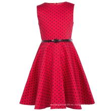 Kate Kasin Niñas sin mangas de cosecha de algodón retro patrón pequeños puntos negros bebé vestido de verano KK000250-18