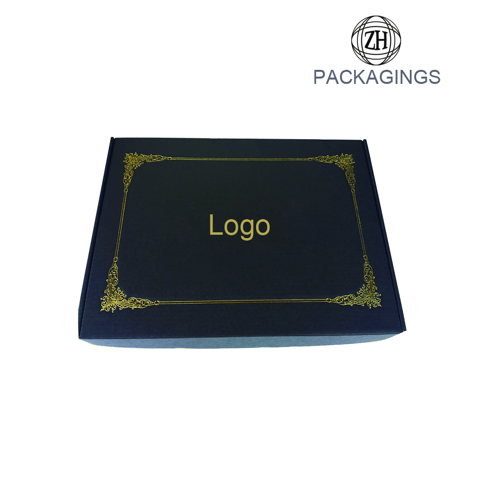 Matt black gold foil stamping shipping box