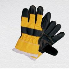 Gant de travail d'hiver en cuir de couleur foncée - 4018