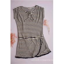 Женское полосатое платье с круглым вырезом