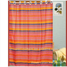 embroidery shower curtain orange stripe with dots shower curtain