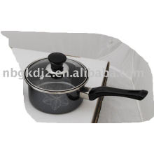 enamel single handle pot with mirror face