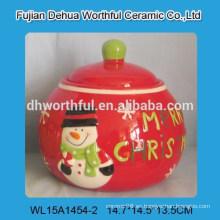 Tarro de galletas de cerámica de la forma del muñeco de nieve de la Feliz Navidad para el almacenaje