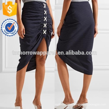 New Fashion Navy Ruched Striped Crepe Midi Skirt DEM/DOM Manufacture Wholesale Fashion Women Apparel (TA5187S)