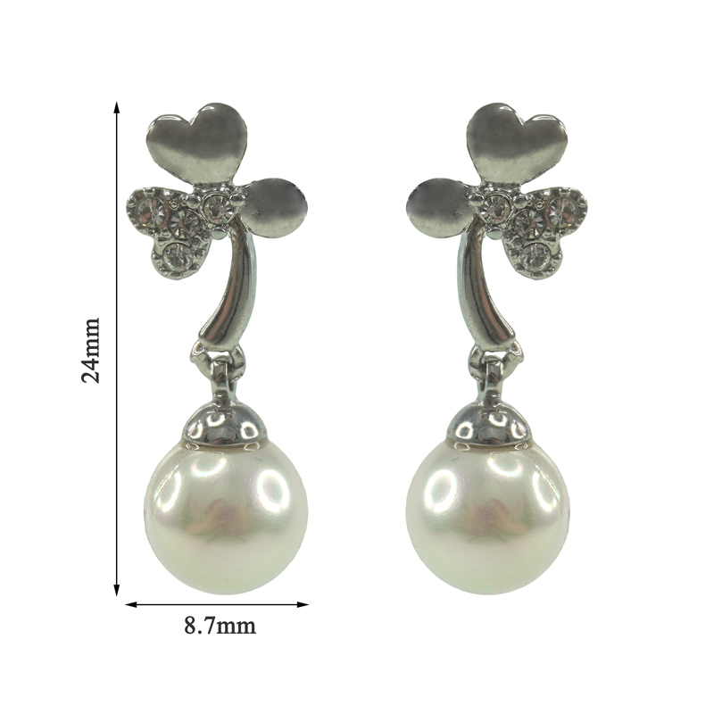 heart glass pearl dangle round wedding