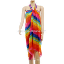 Fashion ladies imprimé en polyester arc-en-rayon pareo