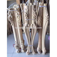 Hand carved wooden table leg