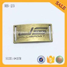 RB23 Logotipo de encargo grabado Etiqueta de metal de costura para gorras Gorras o prendas de vestir