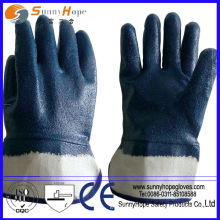 Jersey liner sandy finish anti-slip blue nitrile coated gloves