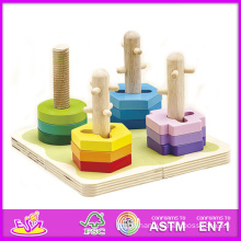 2014 New Kids Wooden Stack and Shape Puzzle, Popular Children Shape Puzzle Toy, Hot Sale Wooden Preschool Shape Puzzle W13e013