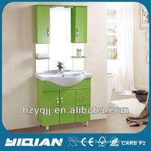 Simple Iraqi & Turkish Design Floor Mounted Gloss Light Blue Bathroom Cabinet Waterproof PVC Bathroom Vanity