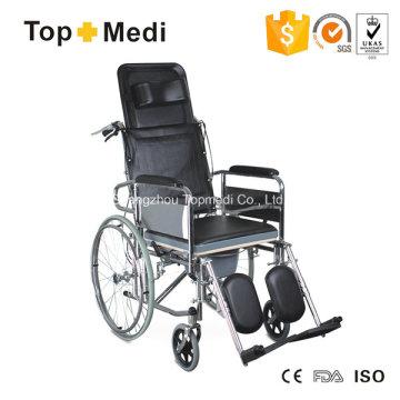 Silla de ruedas con inodoro manual reclinable de acero con respaldo alto Topmedi