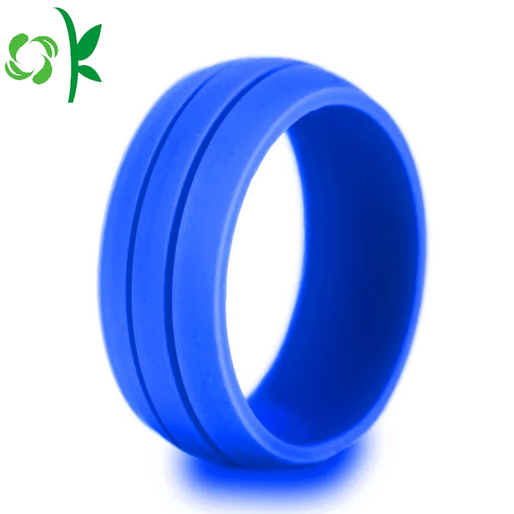 deep blue silicone debossed ring